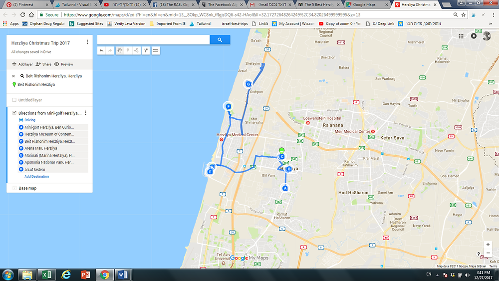 Herzliya Christmas 2017 Trip Map