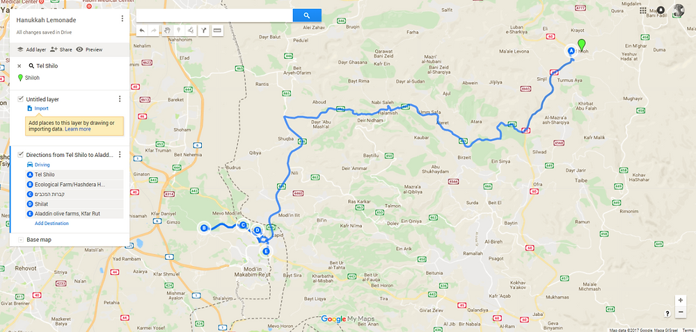Hanukkah Greater Modi'in Area Trip Map