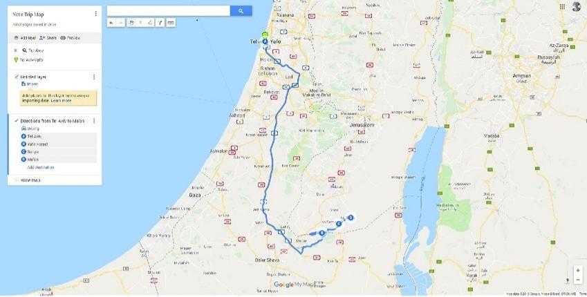 Yatir Trip Map