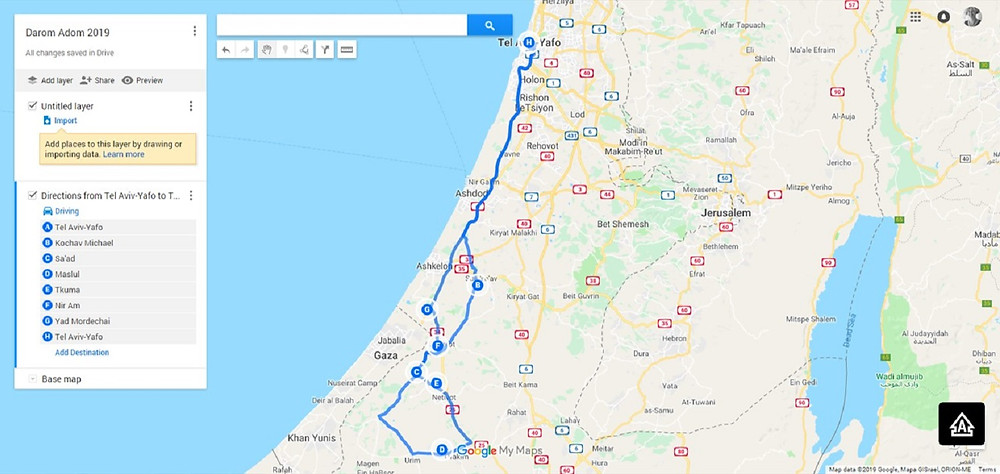 Red South, Darom Adom 2019 Trip Map