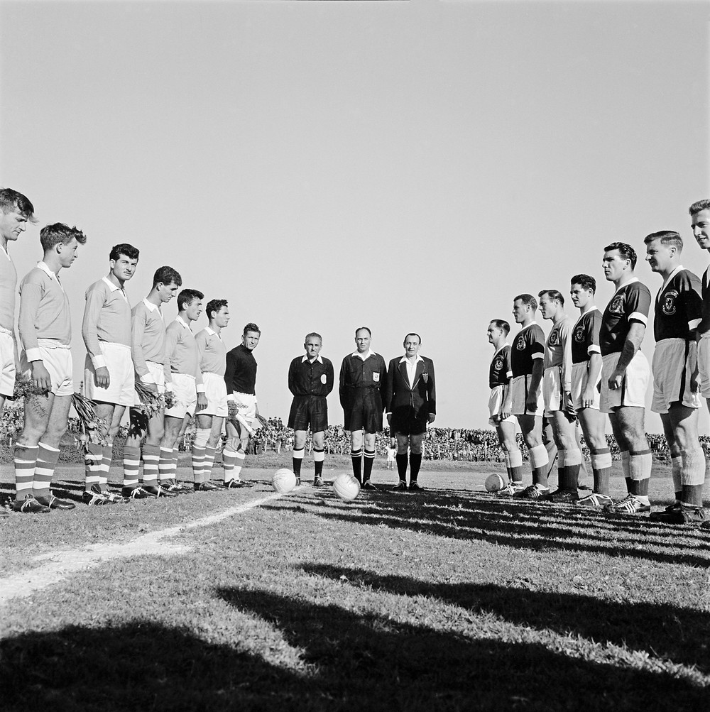 David Rubinger - Yedioth Ahronoth Group. Football game between Israel and Wales, Ramat Gan stadium, 1959, Seventh on left: goalkeeper Yaakov Hodorov