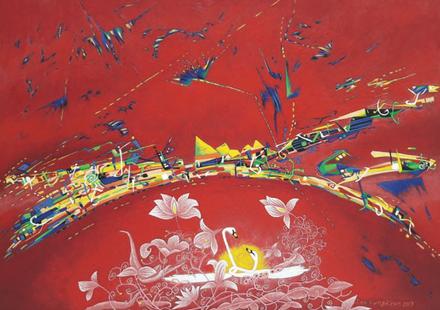 서성근, 생명의 유희 카오스, 72.7x53crn, mineral color, canvas, 2019