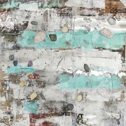 최용천, Rhythm 풍경소리, 89x89cm, mixed media, 2020