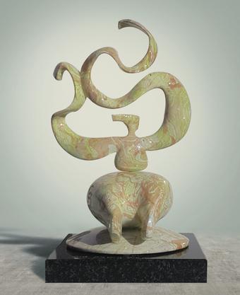 류경원, 춤사위-염원, 28x20x45, 브론즈 마블링도색 화강석, 2020