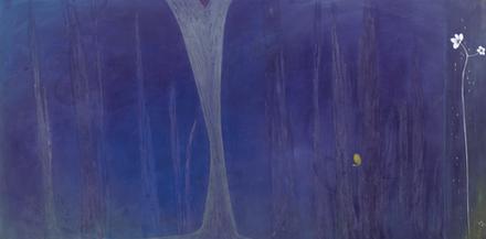우재연, 윤회, 한지, 석채, 분채, 160x80cm