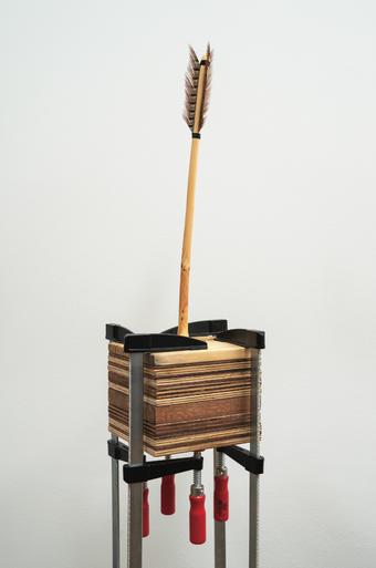 박진희, 시간 고정, 30x140x30cm, 나무, 합판, 깃털, 클램프, 2020