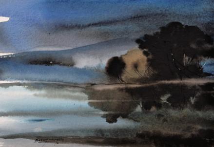 Bheem Malohtra, Misty Landscape, 8X12 inches, Water Colour Bheem Malhotra