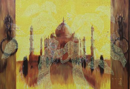 강철기, 마주보기-타지마할, oil on canvas, 116x91cm, 2017