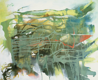 charulRaul, Untittled 1, 25x28 inches, acrylic on canvas, 2015