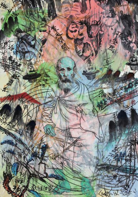 허진, 동학혁명운동이야기6, 146x112, 한지에 수목채색 및 아크릴, 2016