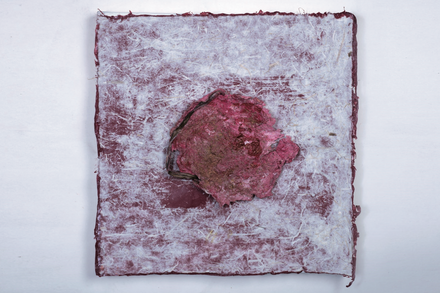 Rashmi Khurana, Remnants of Time1, 12x12 inches, Paper Pulp, Dead plants, Acrylic on Hanji Paper, 2019