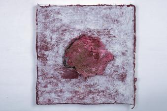 Rashmi Khurana, Remnants of Time1, 12x12 inches, Paper Pulp, Dead plants, Acrylic on Hanji Paper, 2019