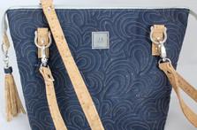 JUDI ANNE Cork Handbag - Blue + Tan