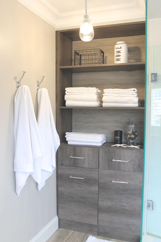 Custom bathroom cabinet storage by Georgia's Design