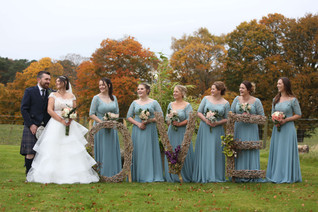 Bride & Groom with bridesmaids
