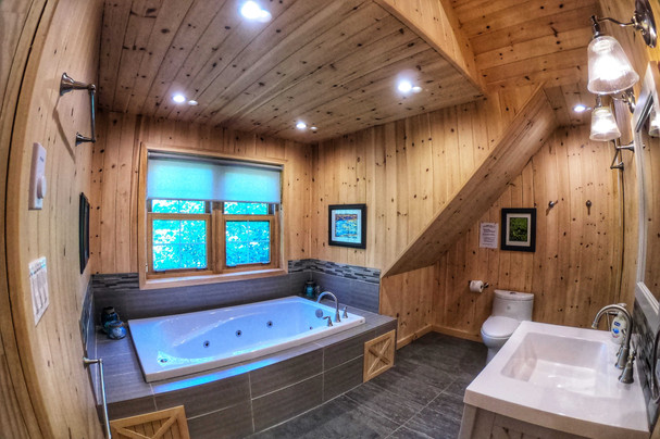 Coach house full bathroom with soaker tub