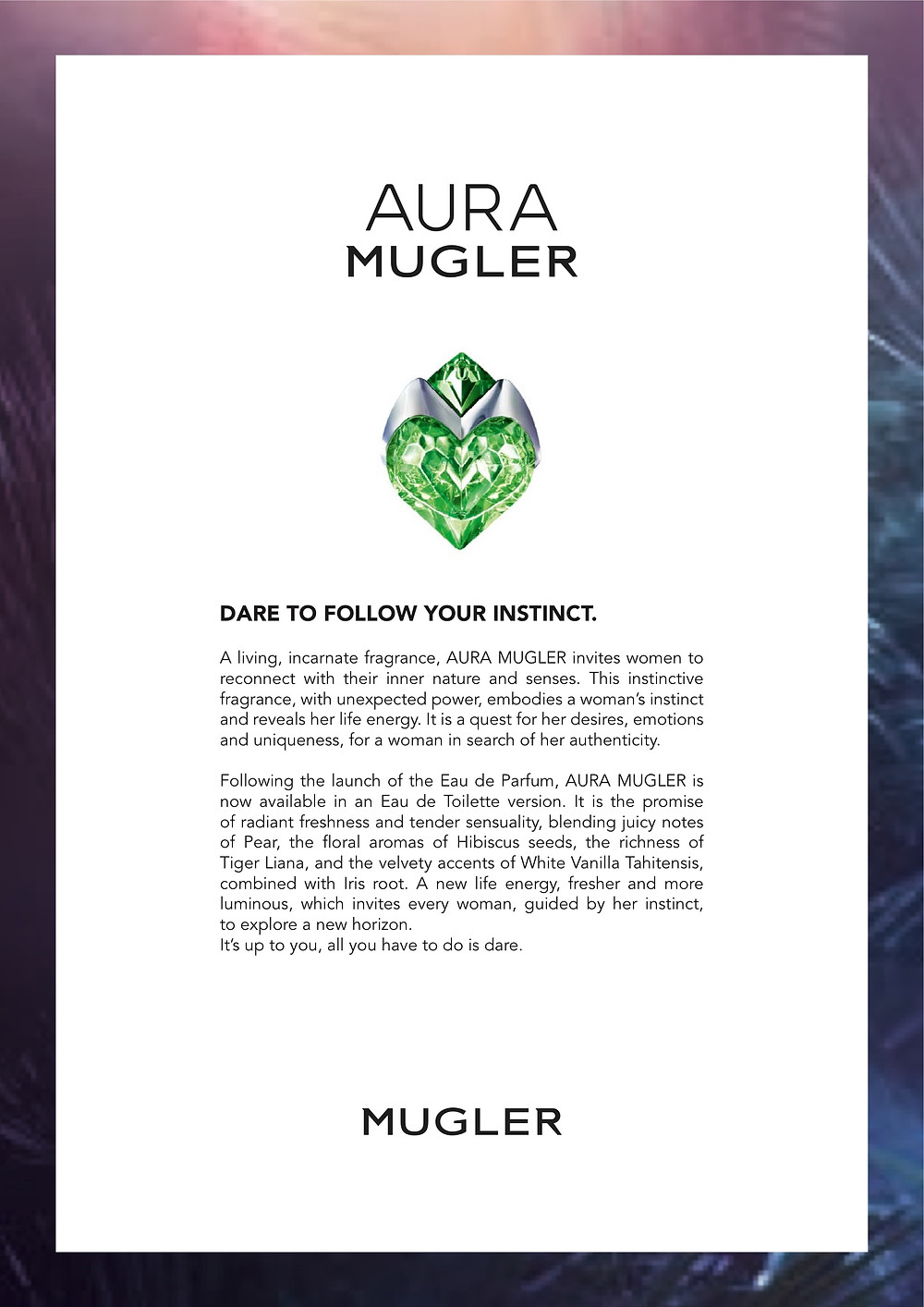 Aura Mugler, Dare To Follow Your Instinct | Susan Santora | Copywriter