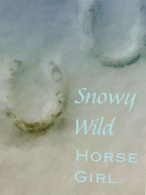 Snowy Wild Horse Girl (Pale Blue) Print