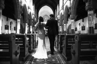 Wedding photography walking up the aisle