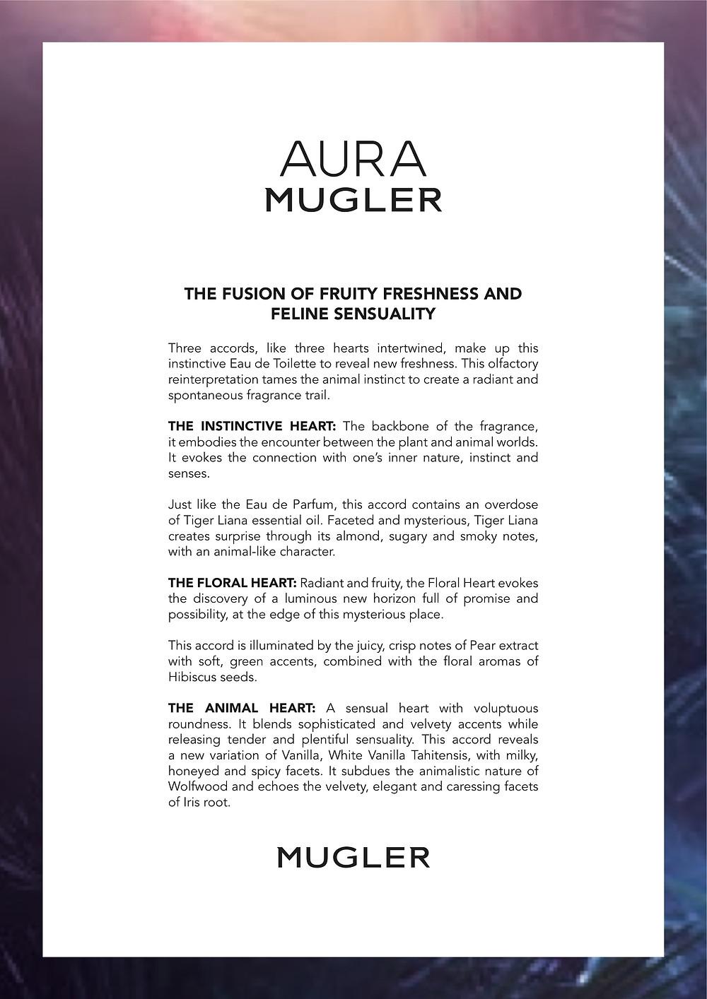 Aura Mugler, The Fusion of Fruity Freshness And Feline Sensuality | Susan Santora | Copywriter