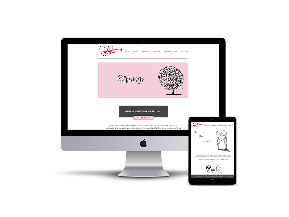 Embracing Grief web design by AG Social Co