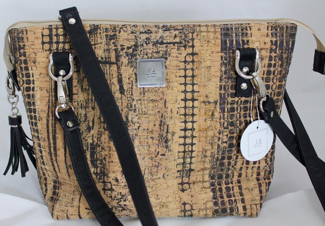 JUDI ANNE Cork Handbag - Tan with Black