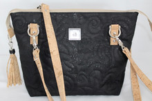 JUDI ANNE Cork Handbag - Black with Tan