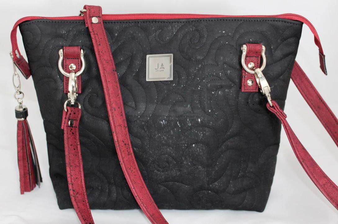 JUDI ANNE Cork Handbag - Black with Red