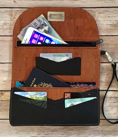 Roomy travel wallet clutch