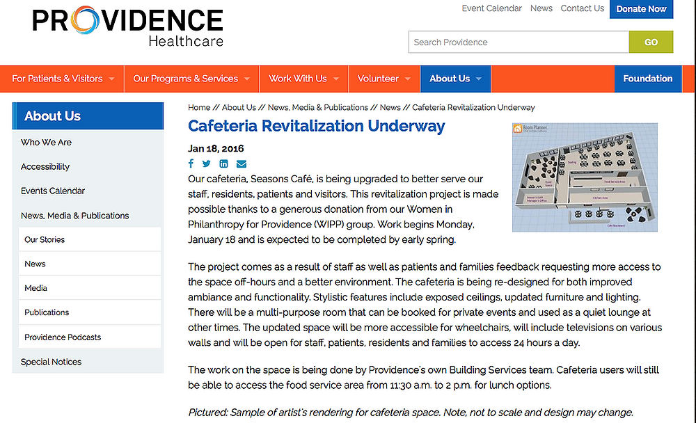 Revitilization project announcement from Providence Healthcare by Georgia's Design