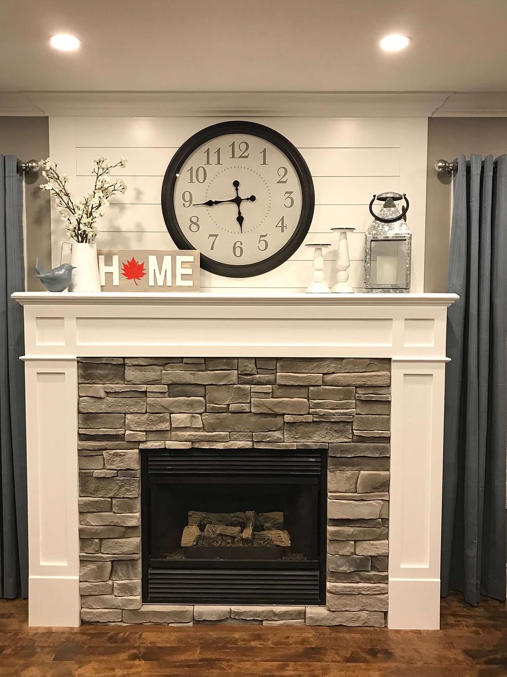 Stunning stone fireplace by Georgia's Design