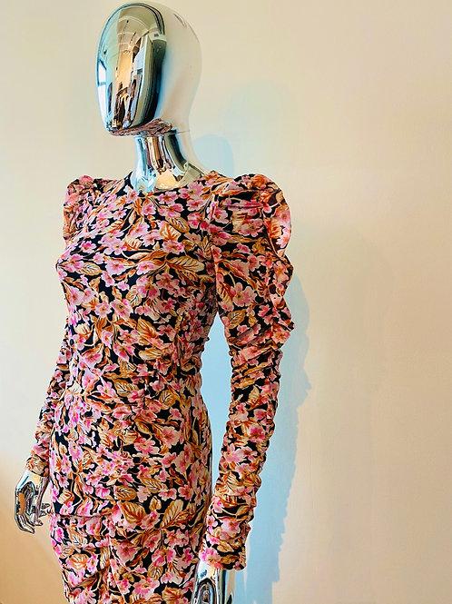 """Floral """"Statement Shoulder"""" Dress"""