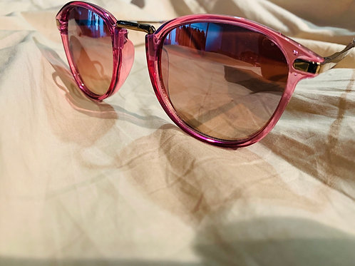 Pink clear sunglasses w/ gold hardware