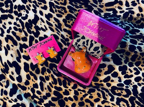"Betsey Johnson ""Orange Hippopotamus"" Ring/Earring Set"