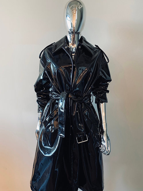 Black Patent Leather Trench Coat