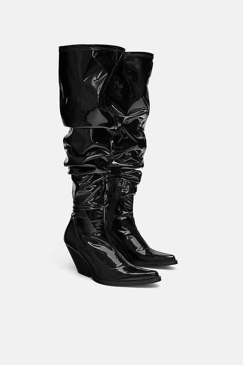 Black Vinyl Thigh High Cowboy Boots