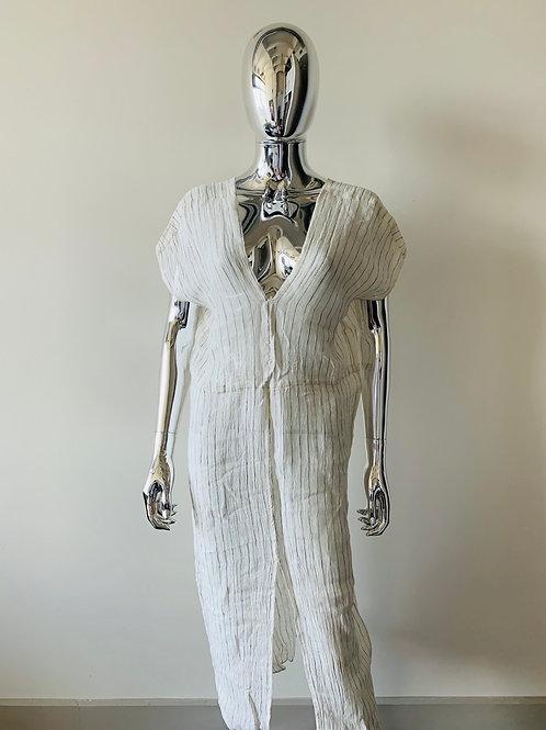 Cream pinstripe linen dress/cover-up