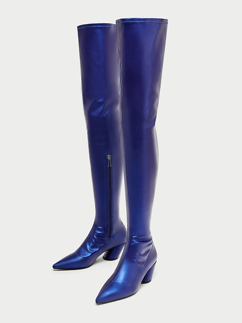 Electric Blue Over-the-Knee Boots