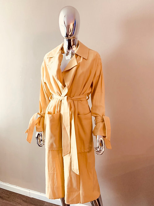 Topshop pastel yellow trench style coat