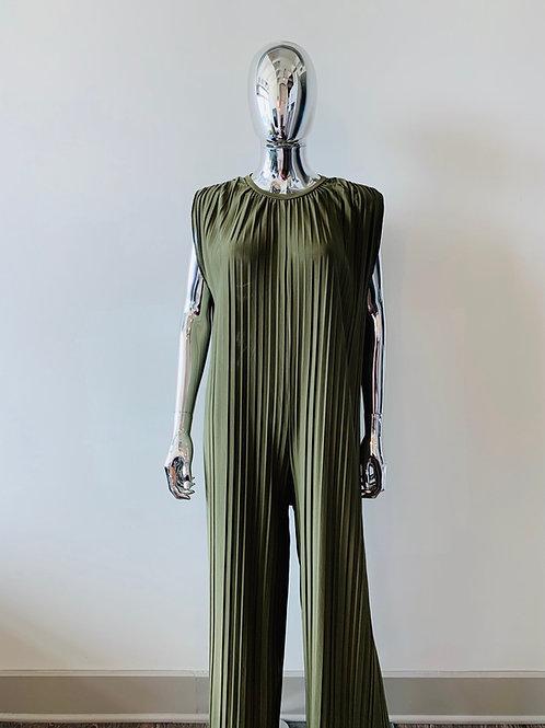Pleated Olive Jumpsuit