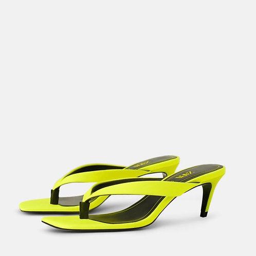 Fluorescent kitten heel thong sandal