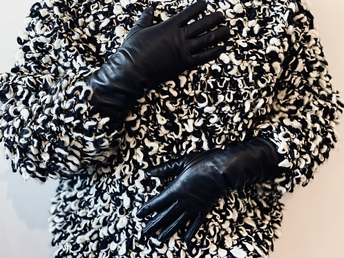 Mid Length Black Leather Gloves