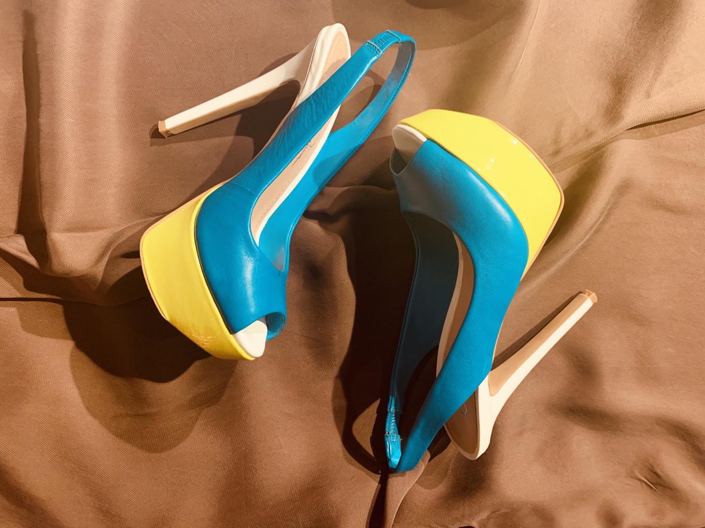 Multi-Color peep toe sling black pumps