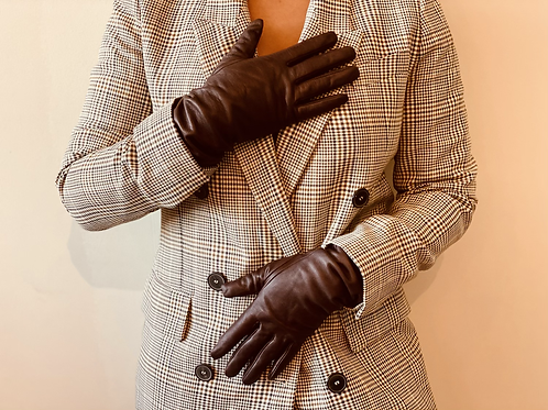 Mid Length Brown Leather Gloves