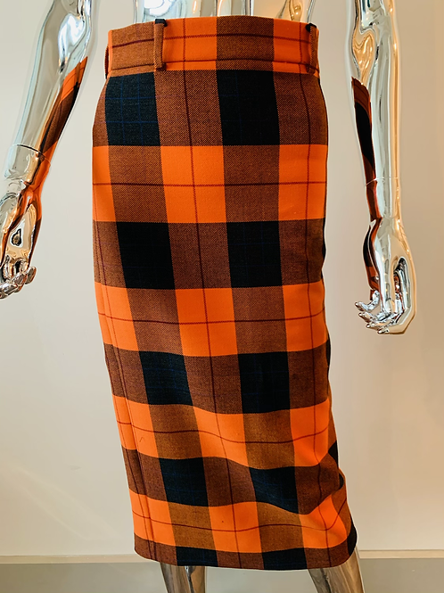 Orange High Waist Plaid Skirt