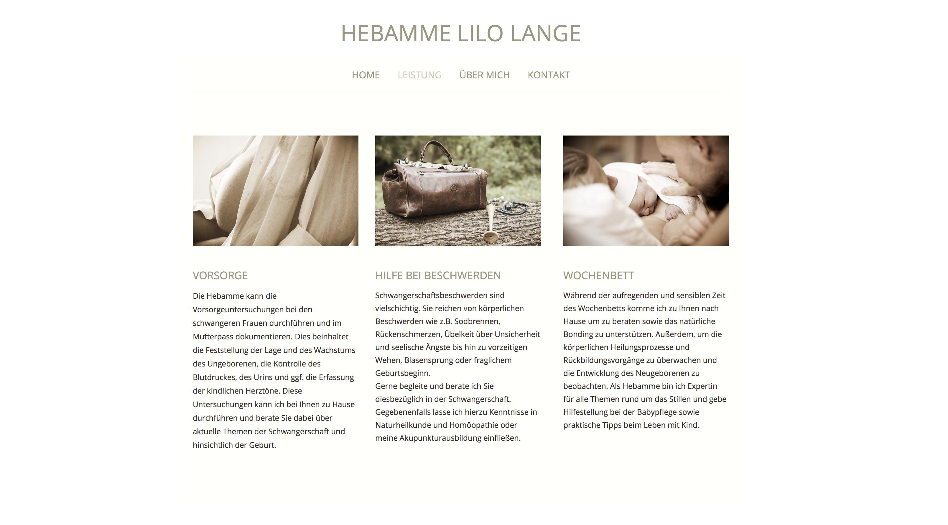 Webseite Hebamme Lilo Lange