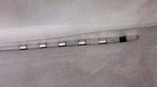 DBS electrode. Deep Brian stimulator electrode, platinum iridium electrode.