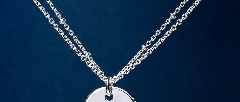 Silver disc with double chain