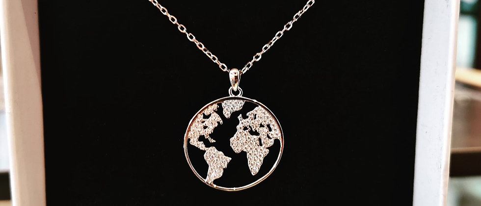 Silver world map pendant set with Cubic Zirconias