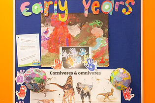 A wall display of info about carnivores and omnivores